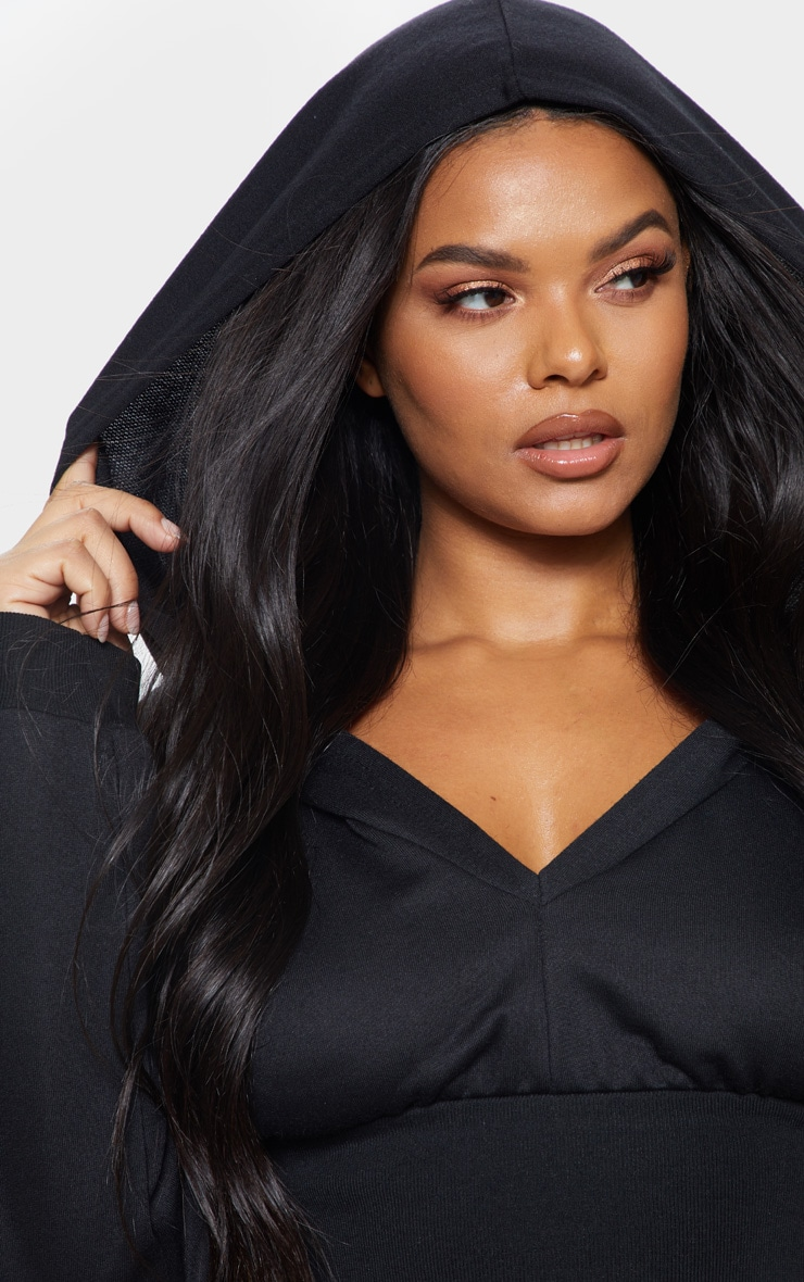 Plus Black Waist Detail Crop Hooded Top 5