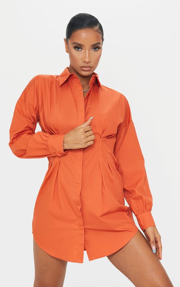 Rust Fitted Waist Shirt Dress 1