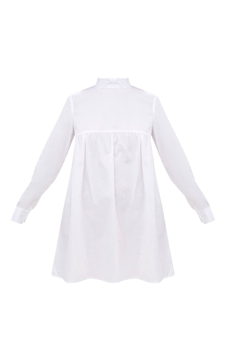 White Cotton Poplin High Neck Smock Dress 3