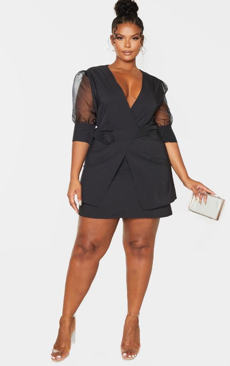 Plus Black Organza Sleeve Tie Waist Skater Dress 1
