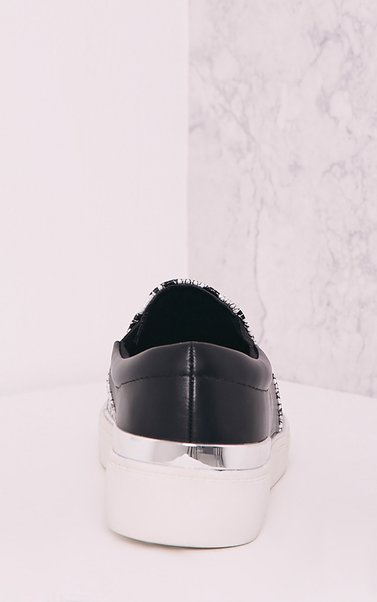 Ania White Faux Snake Skin Slip On Trainers 4