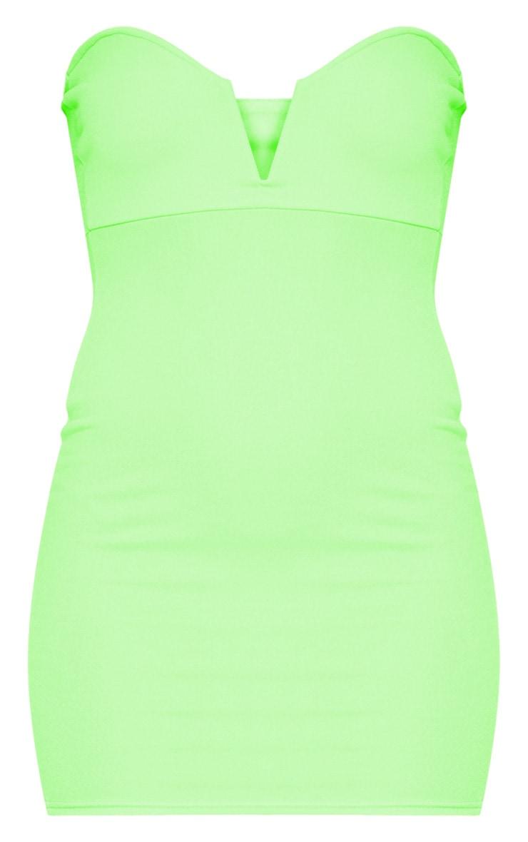 Neon Green Bandeau V Bar Bodycon Dress 3