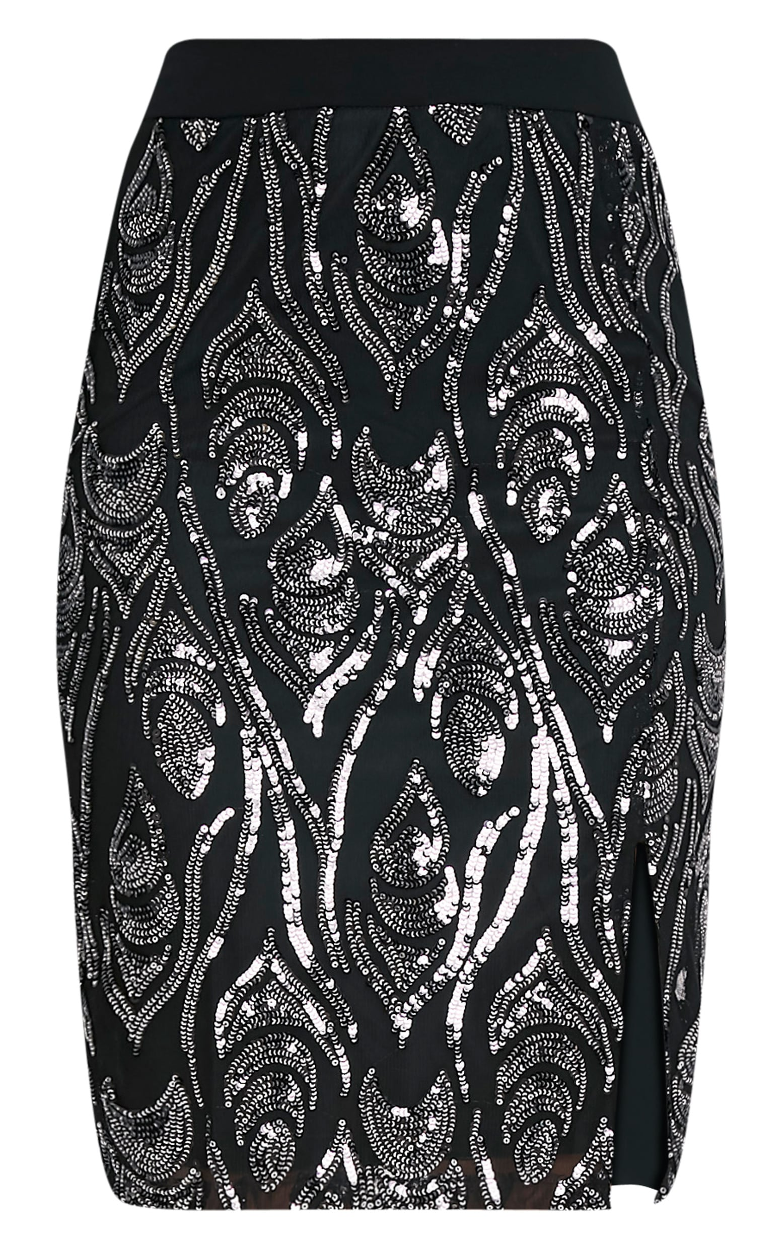 Ramona Black Sequin Split Midi Skirt  3