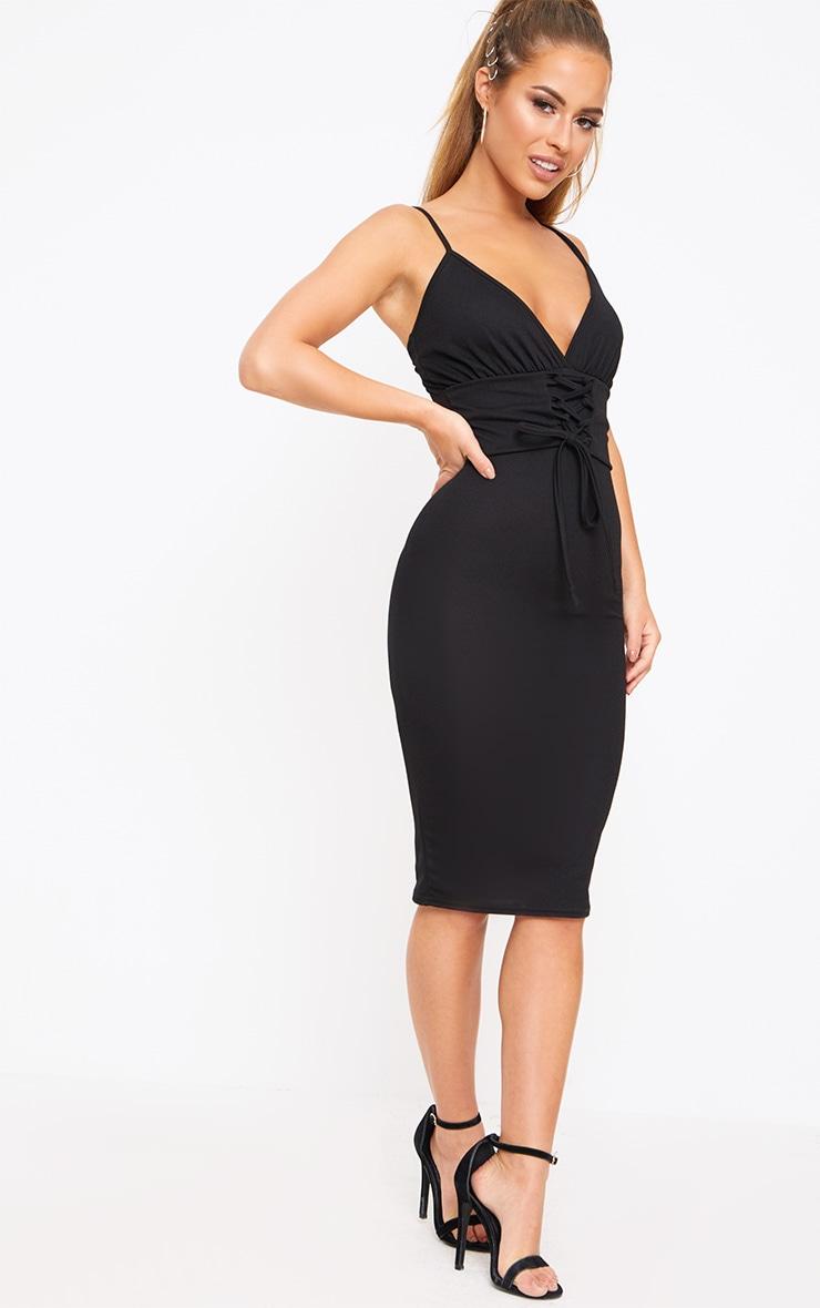 Petite Black Crepe Corset Waist Midi Dress 4