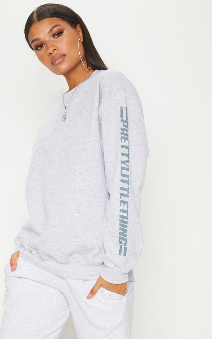 PRETTYLITTLETHING Grey Logo Stripe Oversized Sweater 1