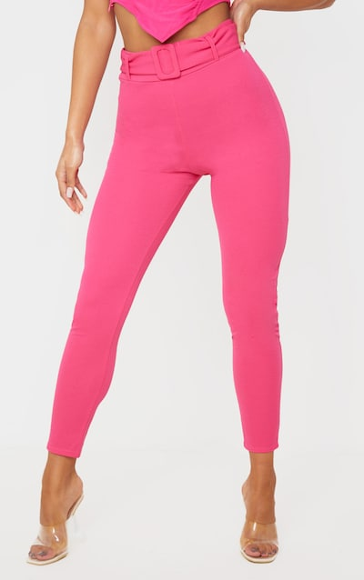 Hot Pink Belted Skinny Trouser