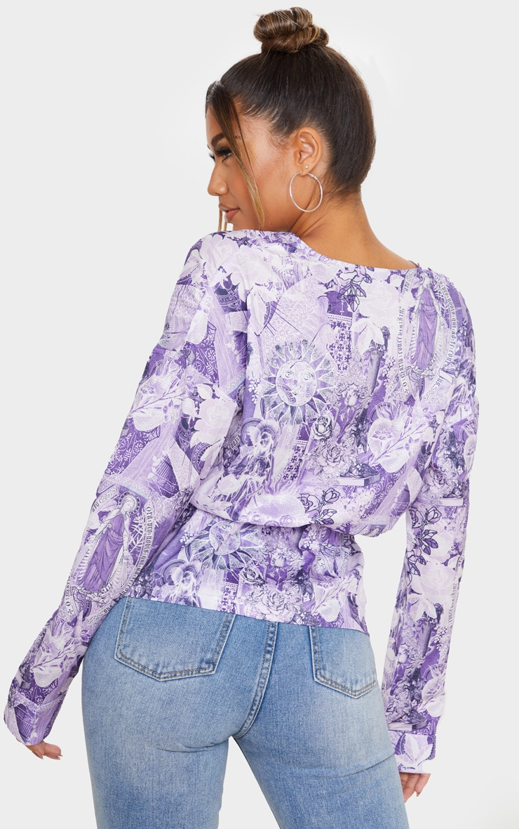 Purple Tattoo Print Woven Wrap Front Blouse 2