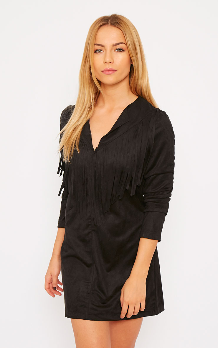 Elvin Black Suede Fringe Mini Dress 1