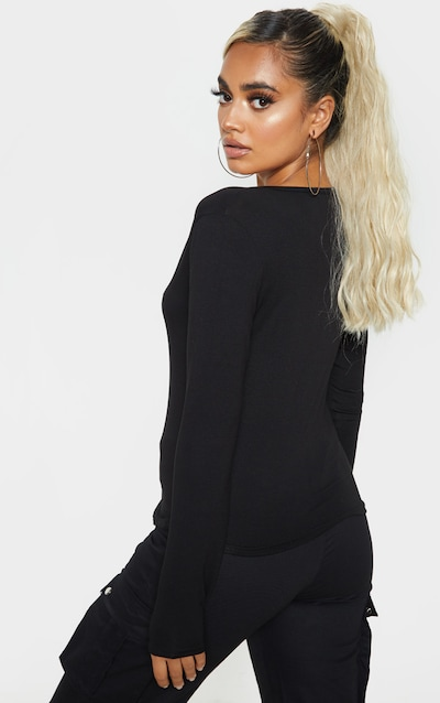Petite Black V Neck Long Sleeve T-Shirt