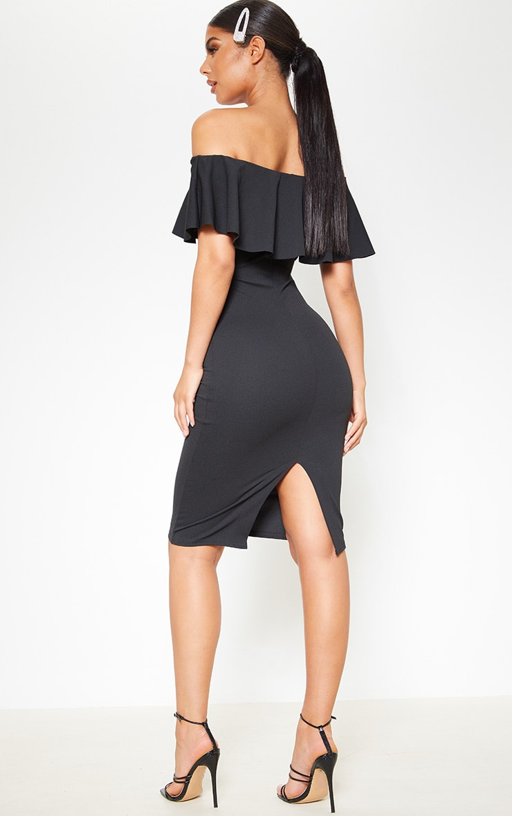 Celinea Black Bardot Frill Midi Dress 2