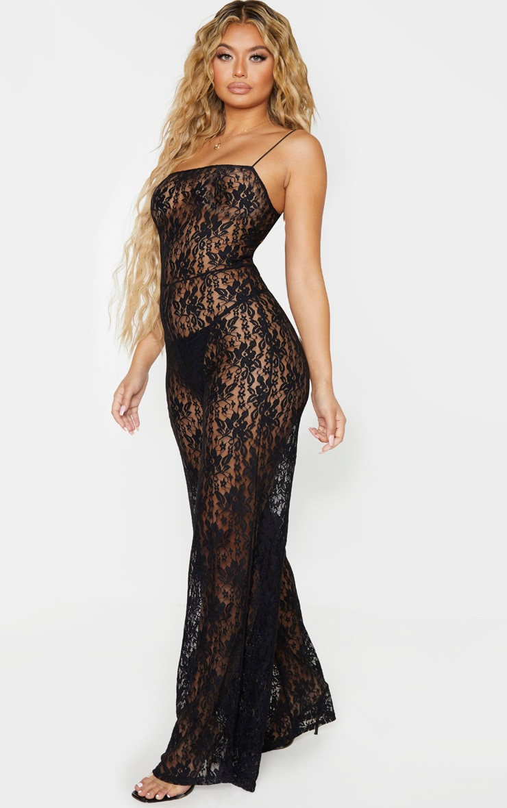 Black Sheer Lace Strappy Jumpsuit 1