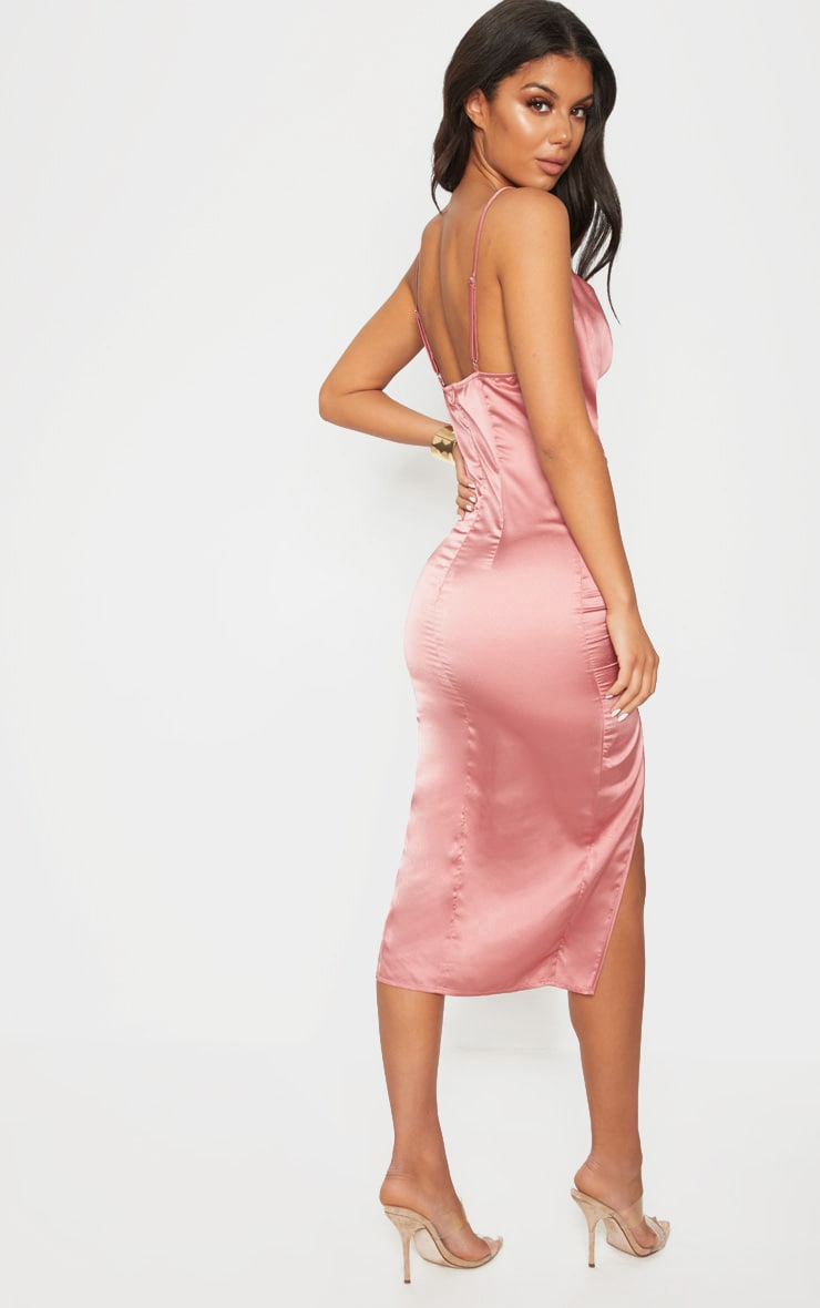Rose Strappy Satin Cowl Midi Dress 3