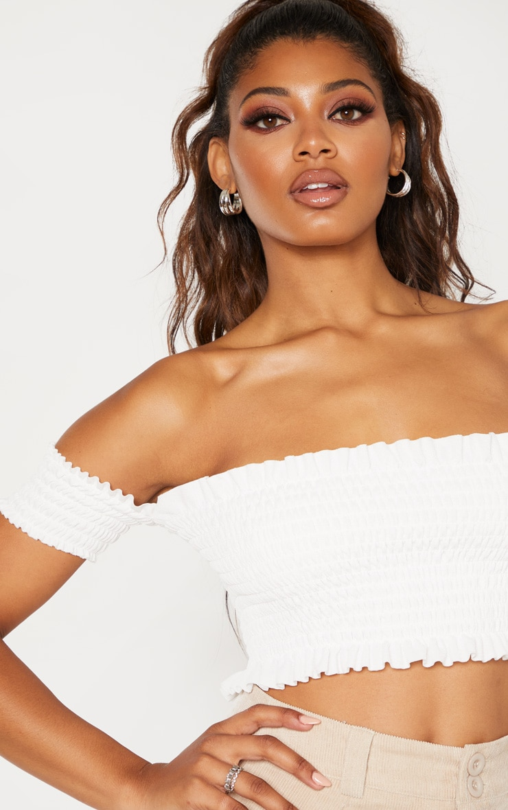 Tall White Shirred Bardot Crop Top 5