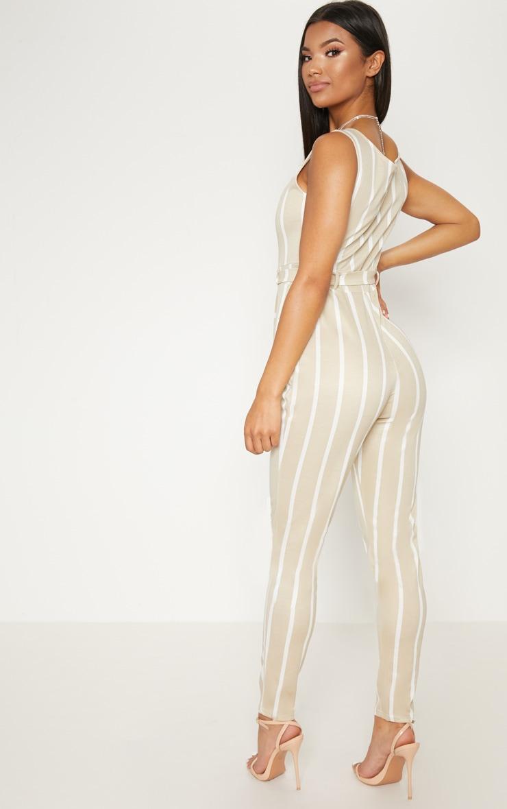 Stone Stripe Belted Jumpsuit 2
