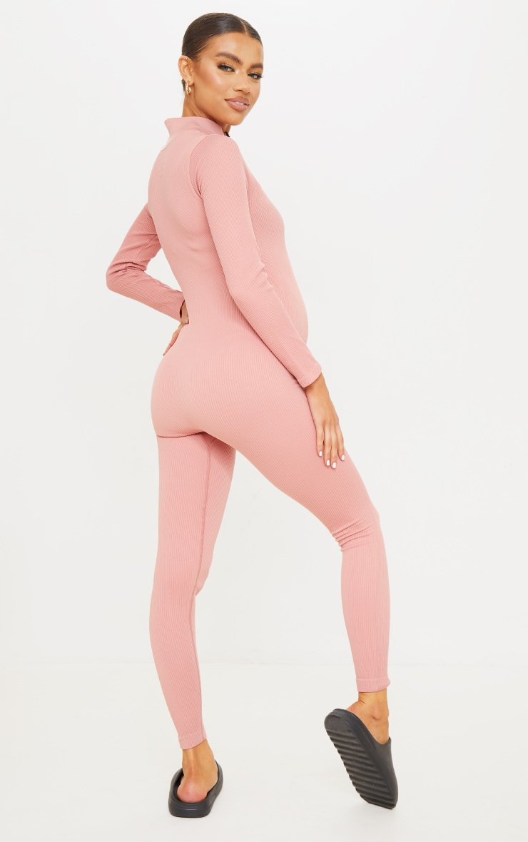 Maternity Clay Contour Ribbed Jumpsuit 2