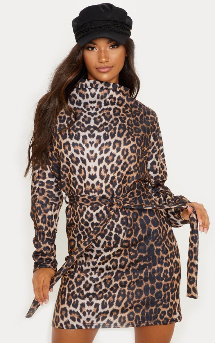 Leopard Oversized Funnel Neck Tie Waist Jumper Dress 1