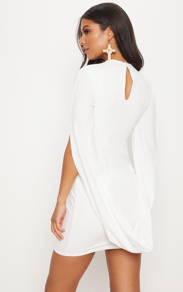 White High Neck Draped Cape Sleeve Bodycon Dress 4