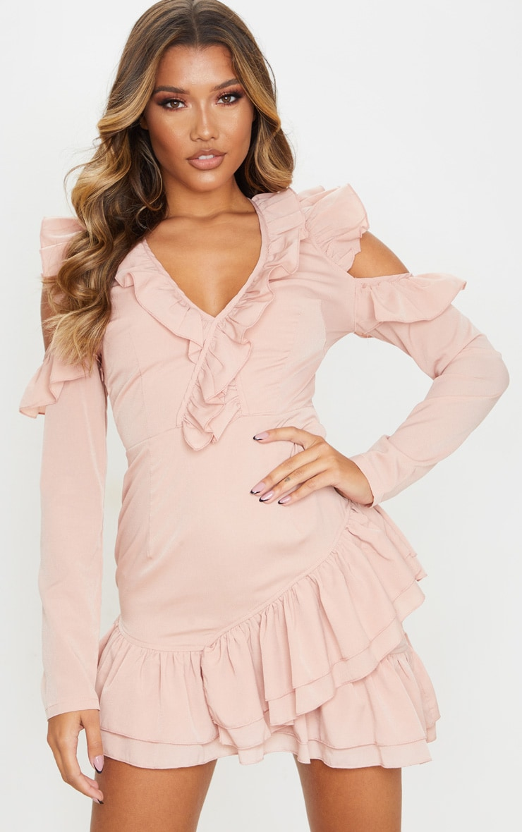 Dusty Pink Ruffle Detail Cold Shoulder Bodycon Dress