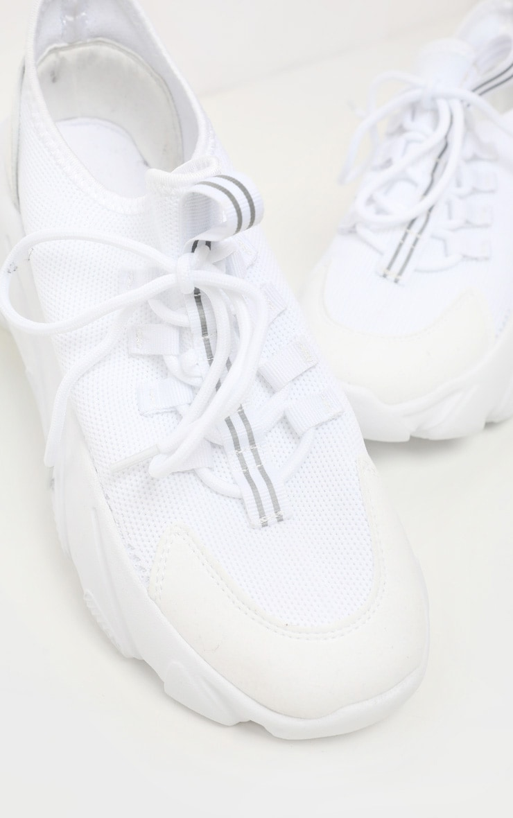 White Lace Up Sock Trainer 4