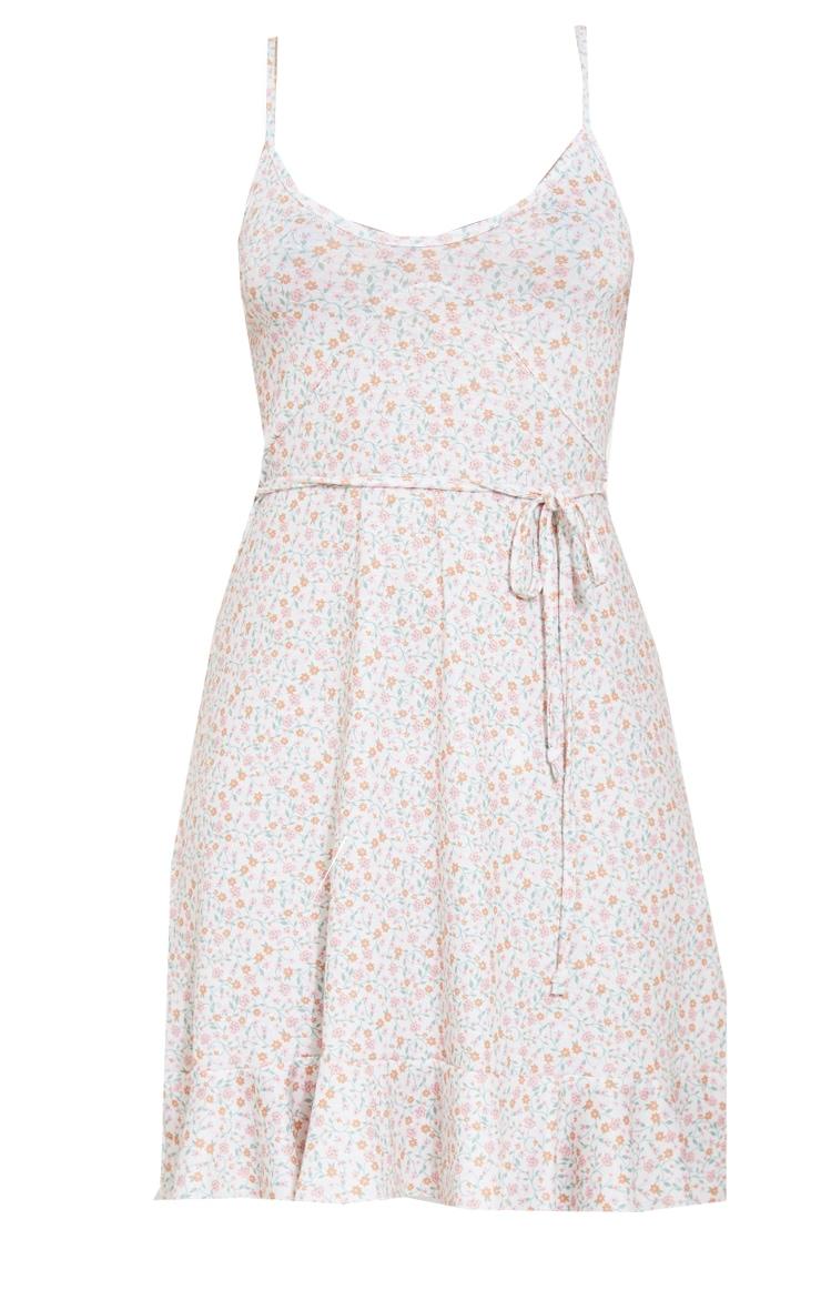 Cream Ditsy Print Frill Hem Cross Strap Shift Dress 5