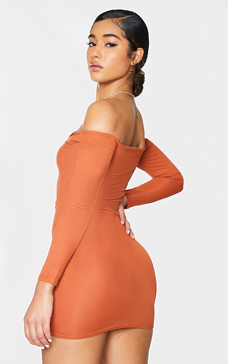 Rust Ribbed Long Sleeve Bardot Ruched Bodycon Dress 2