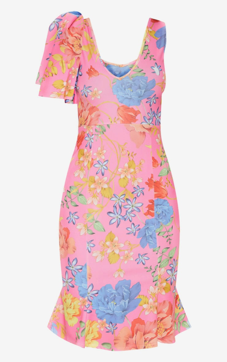 Pink Floral Print Pleat Detail Asymmetric Midi Dress 3