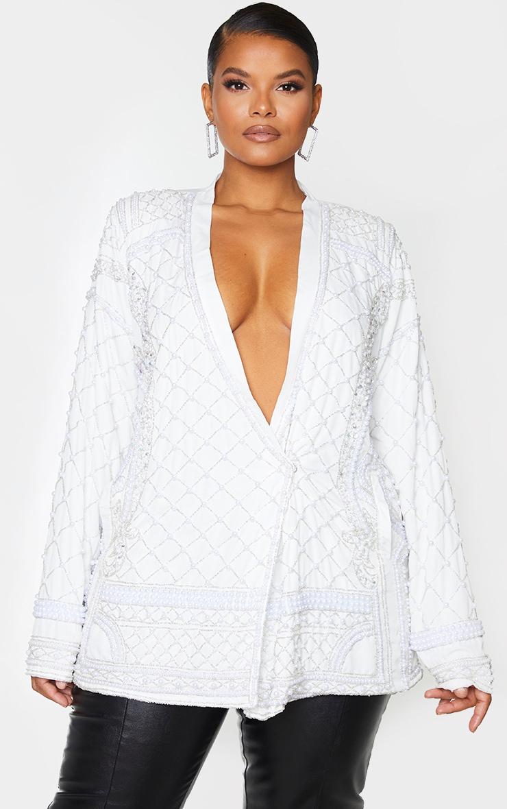 Plus White Premium Embellished Beaded Oversized Blazer 1
