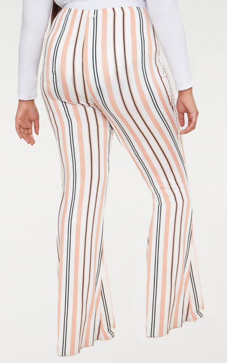 Plus White Slinky Striped Flared Trousers 4