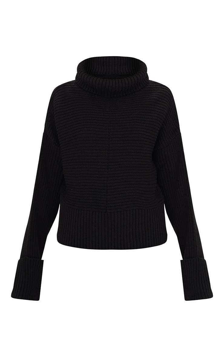 Black Extreme Sleeve Roll Neck Jumper 3