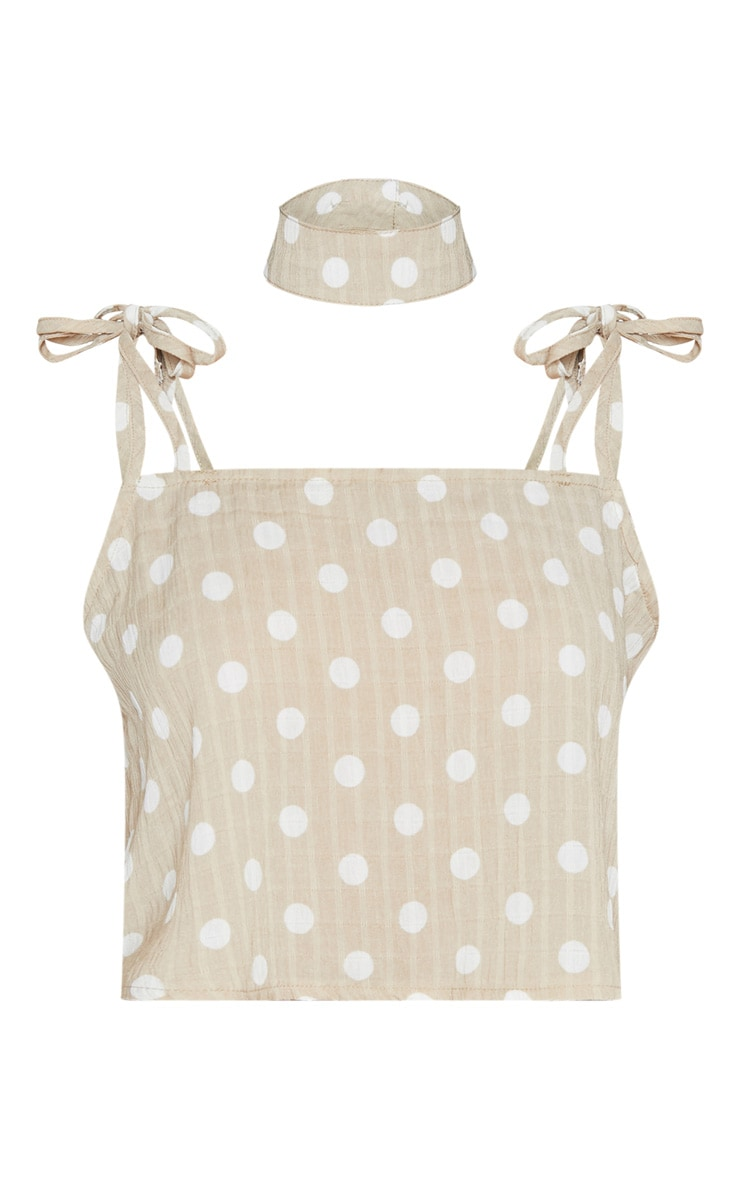Stone Cheesecloth Polka Dot Crop Top 3