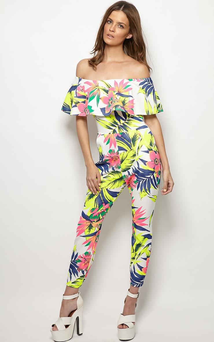 Skye Neon Tropical Print Frill Jumpsuit 4