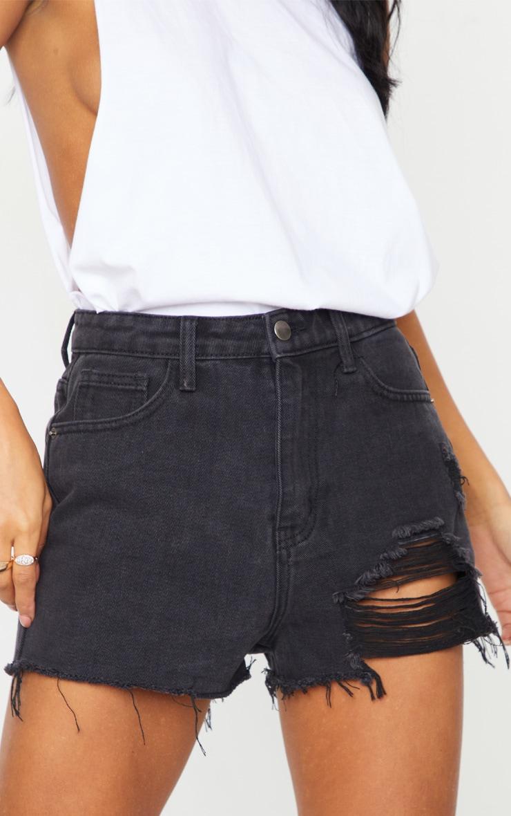 PRETTYLITTLETHING Washed Black Distressed Denim Mom Shorts 5