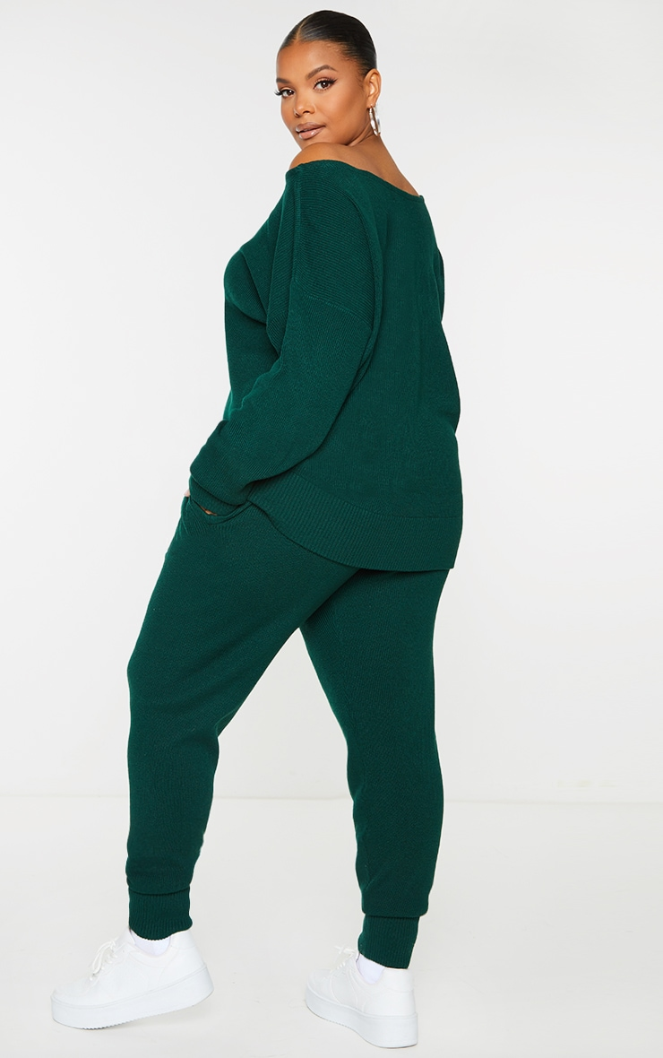 Plus Bottle Green Knitted Lounge Set 2