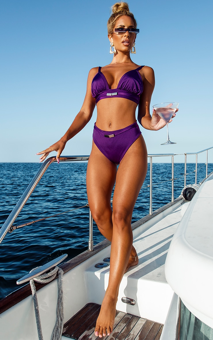 Purple Metal Trim High Waist Bikini Bottom 3