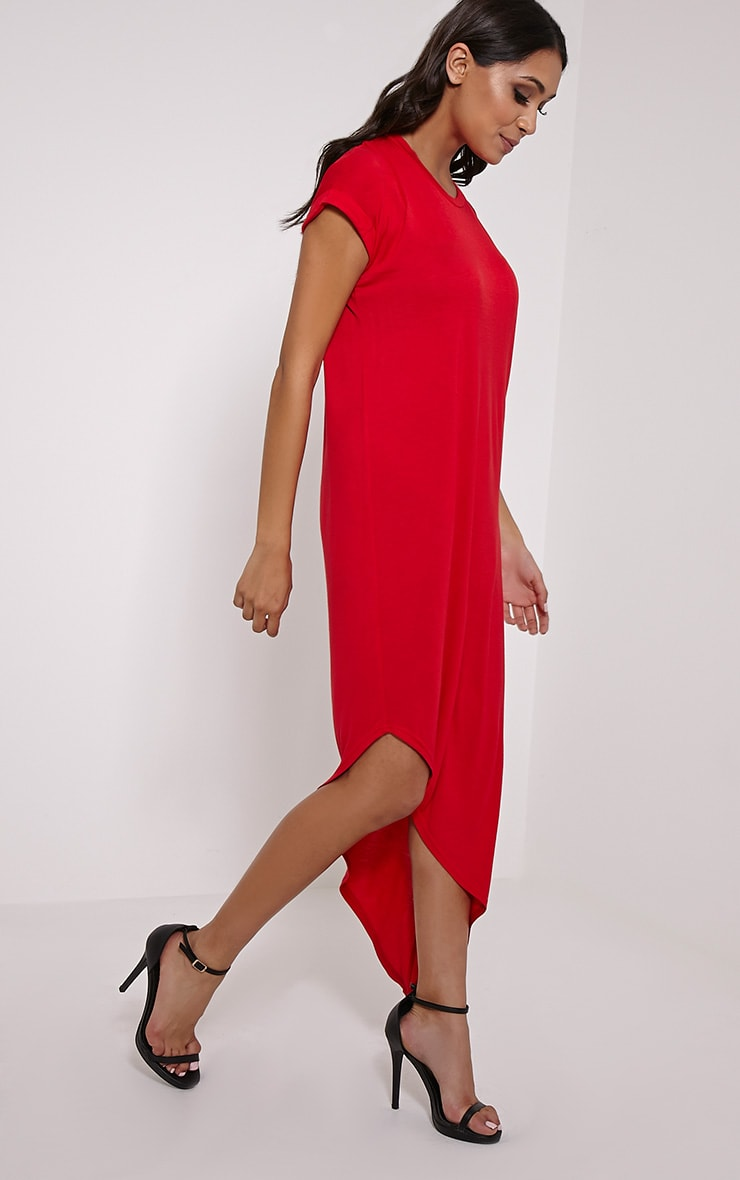 Nolah Red Asymmetric T-Shirt Dress 3
