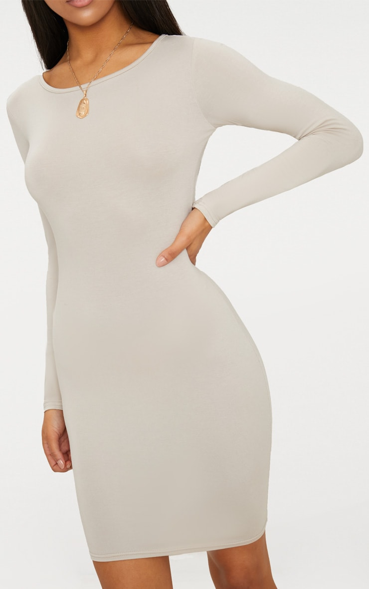 Basic Stone Jersey Long Sleeve Bodycon Dress 4