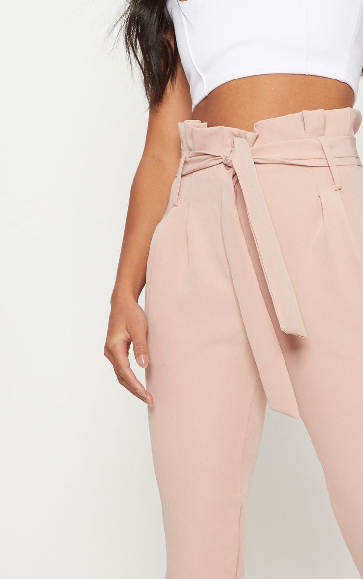Petite Blush Paperbag Waist Trousers 5