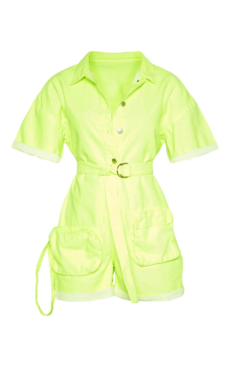 Neon Lime Romper With Pencil Pockets  3