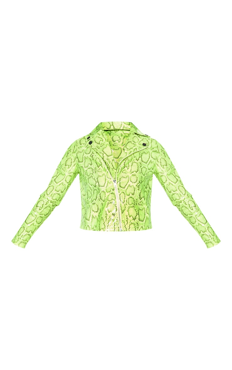 Neon Lime Faux Leather Snake Print Biker Jacket 3