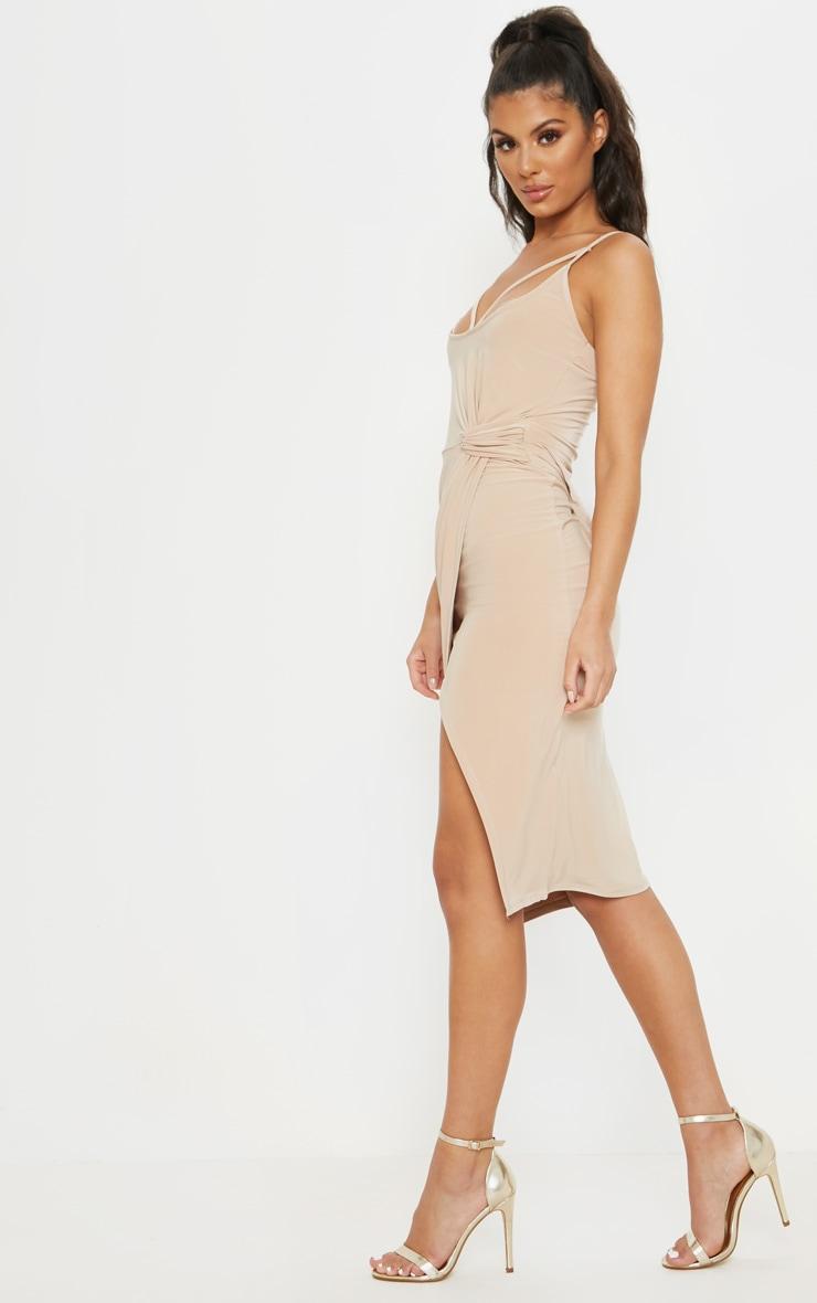 Stone Slinky Strap Detail Draped Midi Dress 4