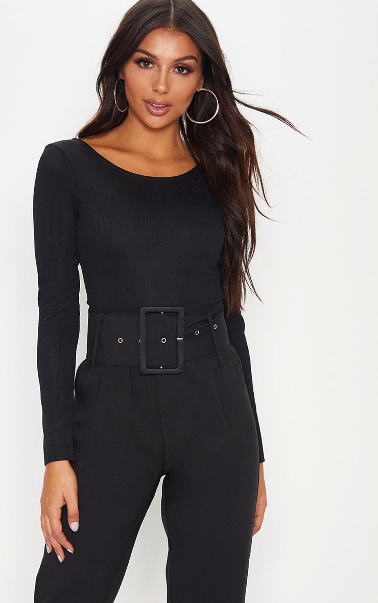 Black Rib Scoop Back Bodysuit by Prettylittlething