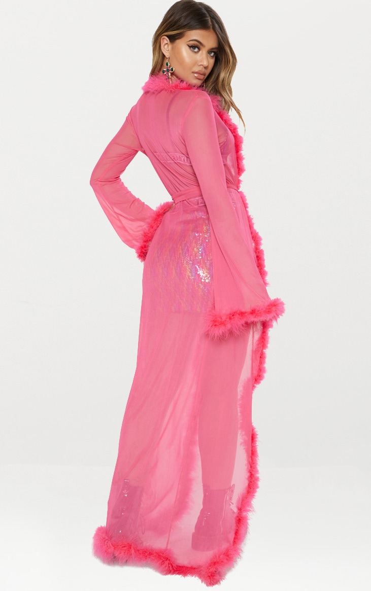 Pink Sheer Feather Trim Maxi Duster 3