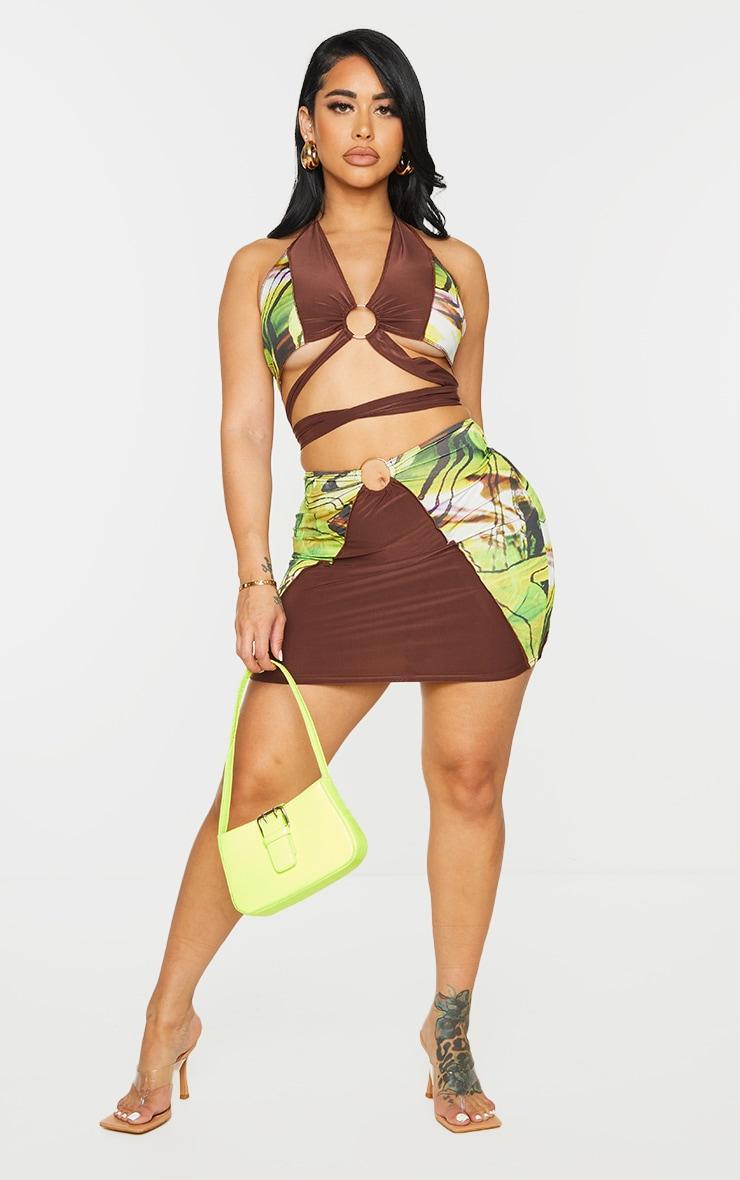 Shape Green Marble Print Panel Ring Detail Bodycon Skirt 1