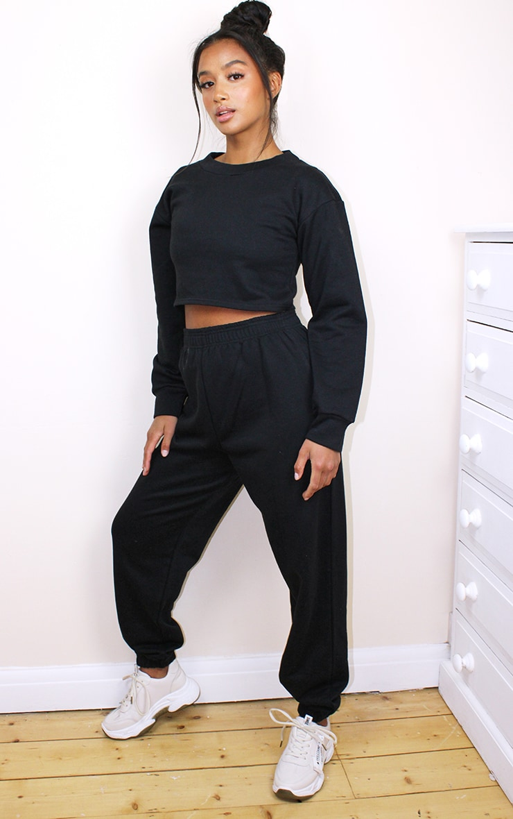 Petite Black Cropped Sweat and Jogger Set 1