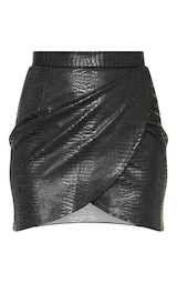 Tall Black Snake Effect Faux Leather Wrap Skirt 3