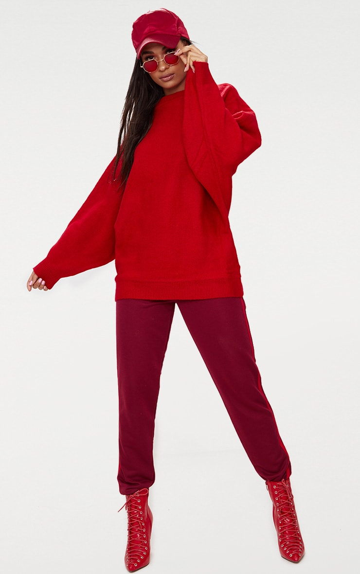 Red Oversized Knitted Sweater 4