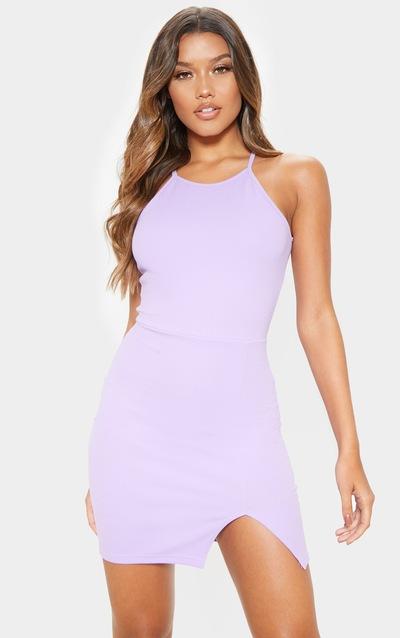 0e618f16c Lilac High Neck Split Detail Bodycon Dress