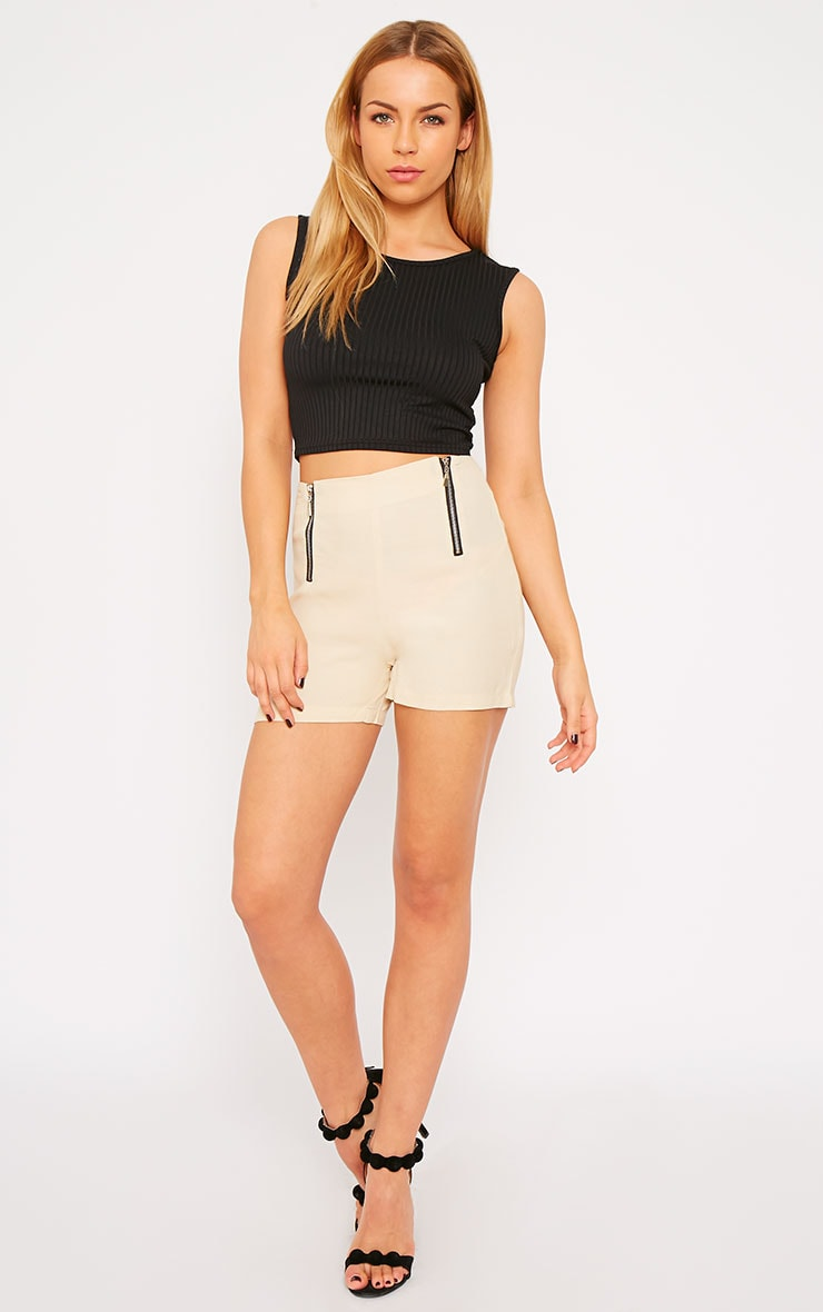 Mikkel Cream Zip Front Shorts 1