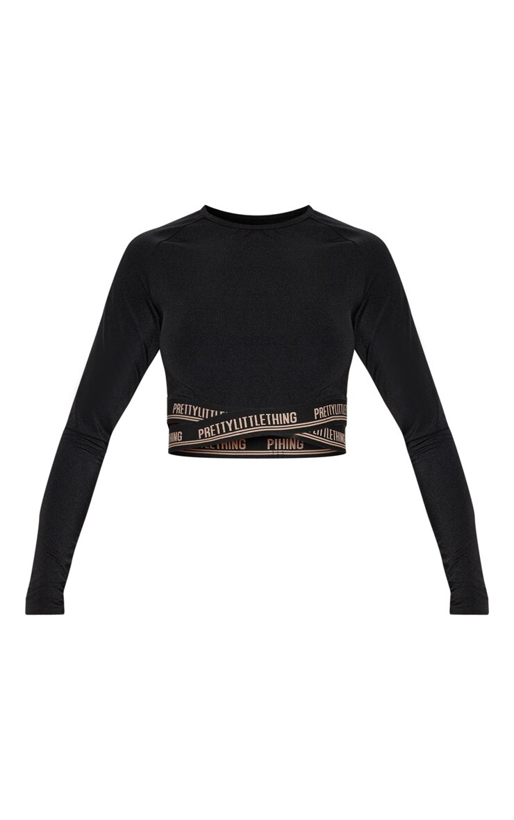 PRETTYLITTLETHING Black Cross Front Long Sleeve Gym Top 3