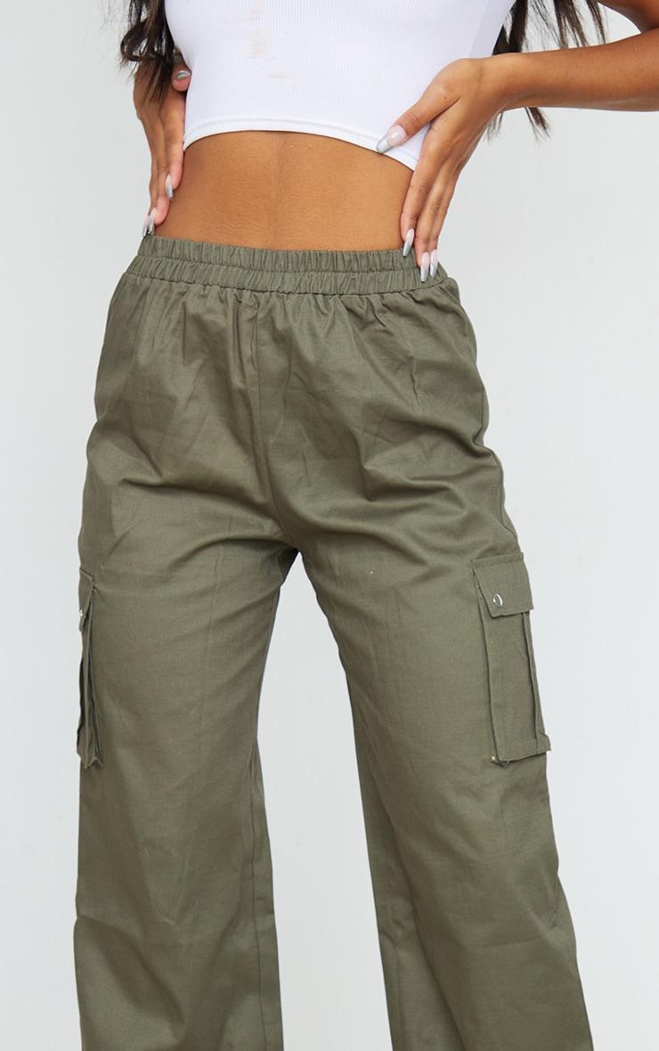 Khaki Wide Leg Cargo Pants 4